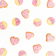 Pink gingerbread cookies isolated on white background. Flat lay. top view.