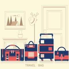 Travel bag for traveling design. Flat vector illustration