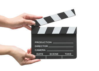 Film slate board or cinema act clapperboard on woman's hand with take, action, scence blank copyspace isolated on white background (clipping path) for cinema movie production and video camera director