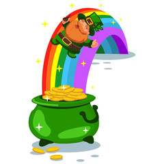 Pot of gold coins at the end of the rainbow and a leprechaun. Vector cartoon illustration isolated on white background. Design elements for St. Patrick's Day.