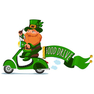 """Leprechaun in hat with four leaf clover on a retro scooter with ribbon banners and text """"Food drive."""" Vector cartoon character. Illustration for St. Patrick's Day. Design element for Irish holiday."""