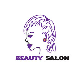 vector fashion icon logo, girl profil, fashion violet