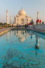 blue reflecting fountain at Taj Mahal, Agra, Uttar Pradesh