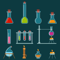 Beaker and burner types set. Laboratory glassware for chemical, medical and scientific research and experiments. Vector cartoon icons isolated on background.