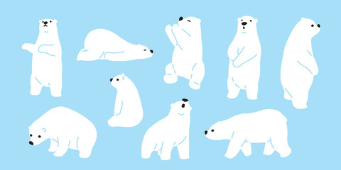 Bear polar bear teddy vector icon character cartoon doodle illustration Wall mural