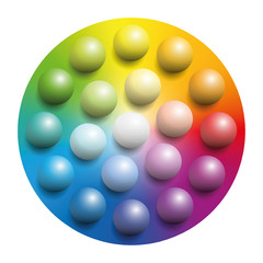 Color spectrum with many colored marbles - many balls placed upon
