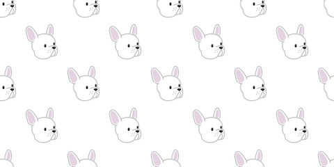 dog Seamless french bulldog vector Pattern head isolated wallpaper background white