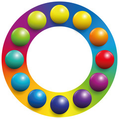 colored circle to increase their contrast. Illustration over white background.