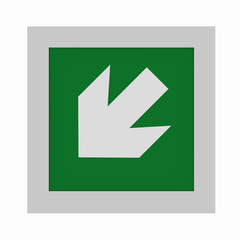 current escape signs according to ASR A1.3: Directional arrow left downwards. Front view