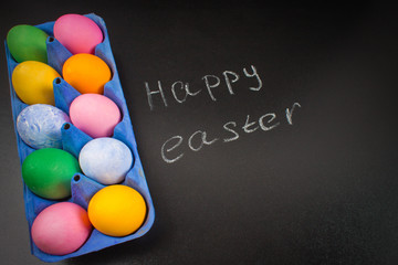 Chalk chalkboard Happy easter on a chalkboard and colorful eggs.