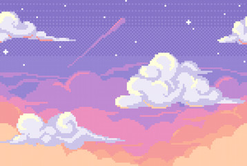 Vector pixel background with evening sky