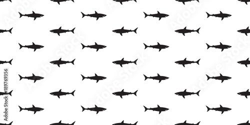 Shark Seamless Pattern Fish Isolated Ocean Vector Wallpaper