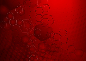 Abstract high resolution free radical molecular illustration of red faded hexagonal/geometric layered design background perfect for Medical, Healthcare and Science and many other Businesses.