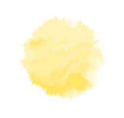 Vector yellow watercolor sun, isolated on white background. Illustration.