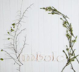 A frame made of flowers and Imbolc word