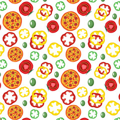 Vector pattern with pizza and vegetables isolate on white background. Art illustration design