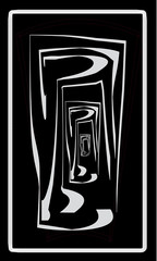 Tarot cards - back design.  Corridor, underworld