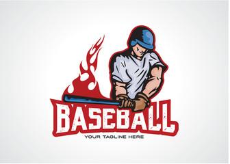 Fire Baseball Logo Template Design Vector, Emblem, Design Concept, Creative Symbol, Icon