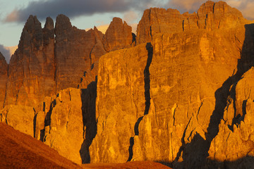 Rocks enlightened by the setting sun, Dolomites, Italy