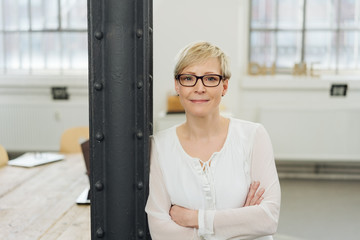 Relaxed woman wearing glasses