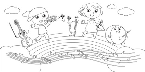 Coloring musical instruments and children vector