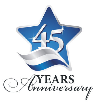 45 years anniversary isolated blue star flag logo icon