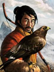 chasseur mongol tenant un arc avec un aigle