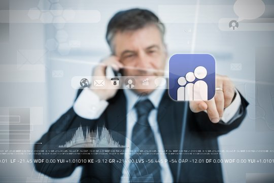 Businessman selecting social network application