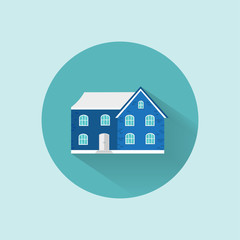 Icon of cozy home, house, cottage, space for text