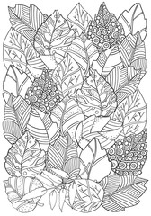 Floral Doodle Background Pattern In Vector With Autumn Leaves Design Asian Ethnic Zentangle