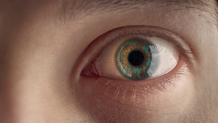 Male eye with HUD.