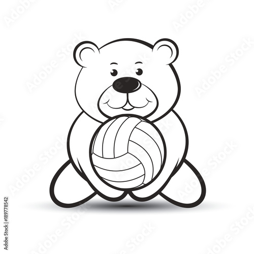 black outline bear vector cartoon playing volleyball - Outline Of A Bear
