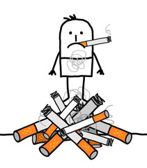 Cartoon Man on a Big Pile of Cigarettes