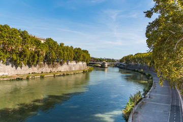 Tiber river on a clear day in Rome