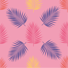 Bright tropical palm leaves seamless pattern. Vector illustration.