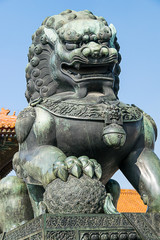 Ming Dynasty Male Imperial Guardian Lion at Beijing Forbidden City
