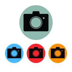 Simple flat camera icon. Four colour variations