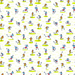 Background with soccer players with ball . Seamless pattern of minimalistic doodle sportsmen in action.