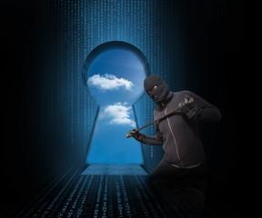 Doorway revealing cloudy sky with burglar