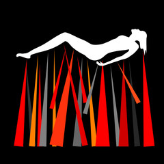 Pictogramme d'une femme nue harcelée allongée au dessus de pointes sur fond noir