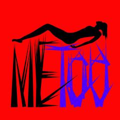 Pictogramme d'une femme nue harcelée allongée au dessus de pointes sur fond rouge