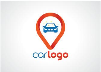 Car Point Logo Template Design Vector, Emblem, Design Concept, Creative Symbol, Icon