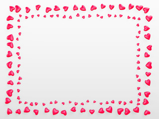 Rectangular frame of red hearts on a white background. Valentine's Day. 3d render illustration