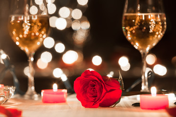 Romantic dinner date setting. Valentines and love concept.