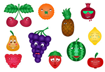 Set of Fruit smiles emoji vector illustration