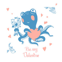 Hand drawn Valentine's Day greeting card. Cute  octopus with bouquet of fish