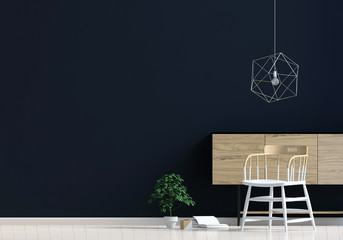 Modern interior with rack, plant and chair. Wall mock up. 3d illustration