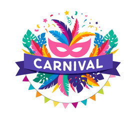 Carnival poster, banner with colorful party elements - mask, confetti, stars and splashes