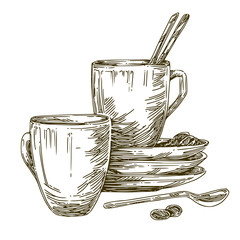 Cups, dish and spoon for coffee. Engraving style. Vector ilustration.
