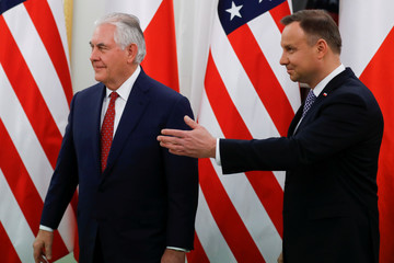 U.S. Secretary of State Tillerson meets with Poland's President Duda at the Belvedere Palace in Warsaw